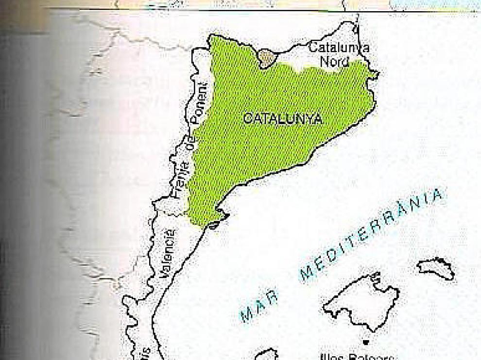 Imagen del libro de 3º de ESO en el que toman como propios los territorios del Aragón Oriental.