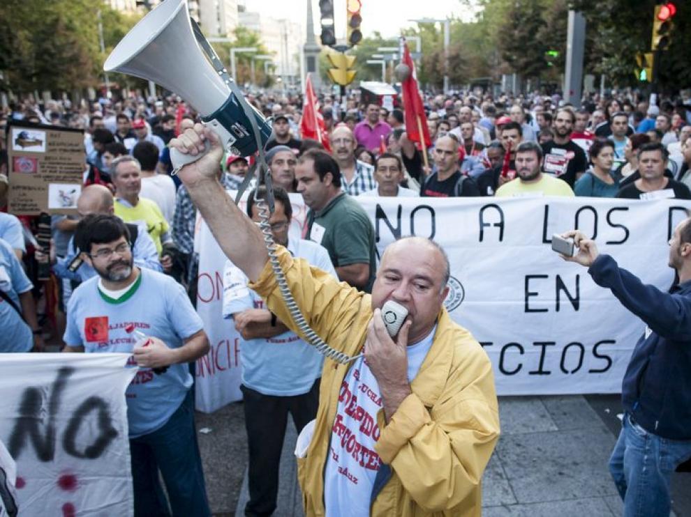 Manifestación de los trabajadores de autobús en Zaragoza