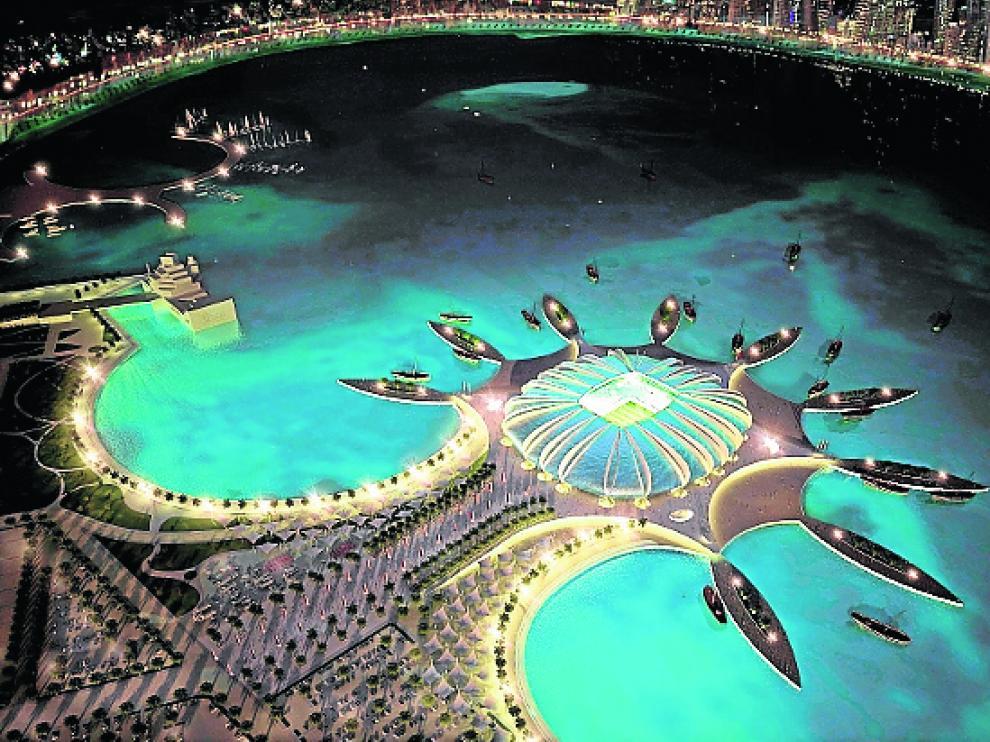 Imagen creada por ordenador de la propuesta del estadio de Doha
