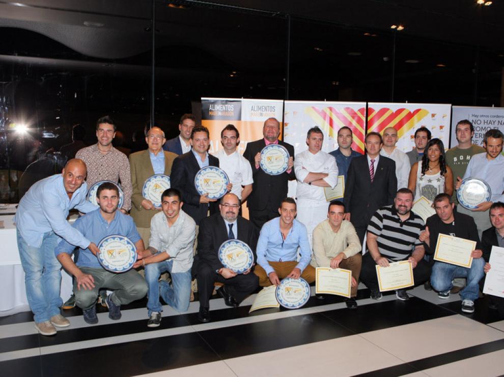Los premiados, durante la fiesta organizada por la Asociación de Cocineros de Aragón