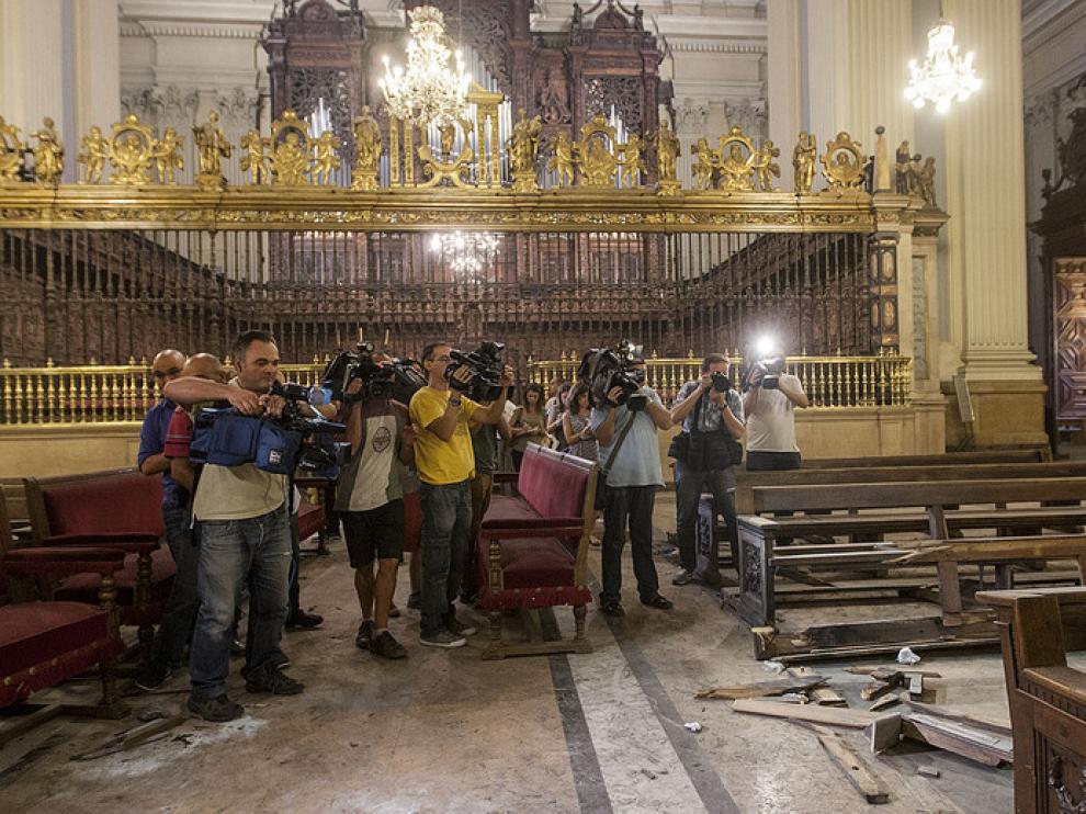 Estado del interior de la basílica del Pilar