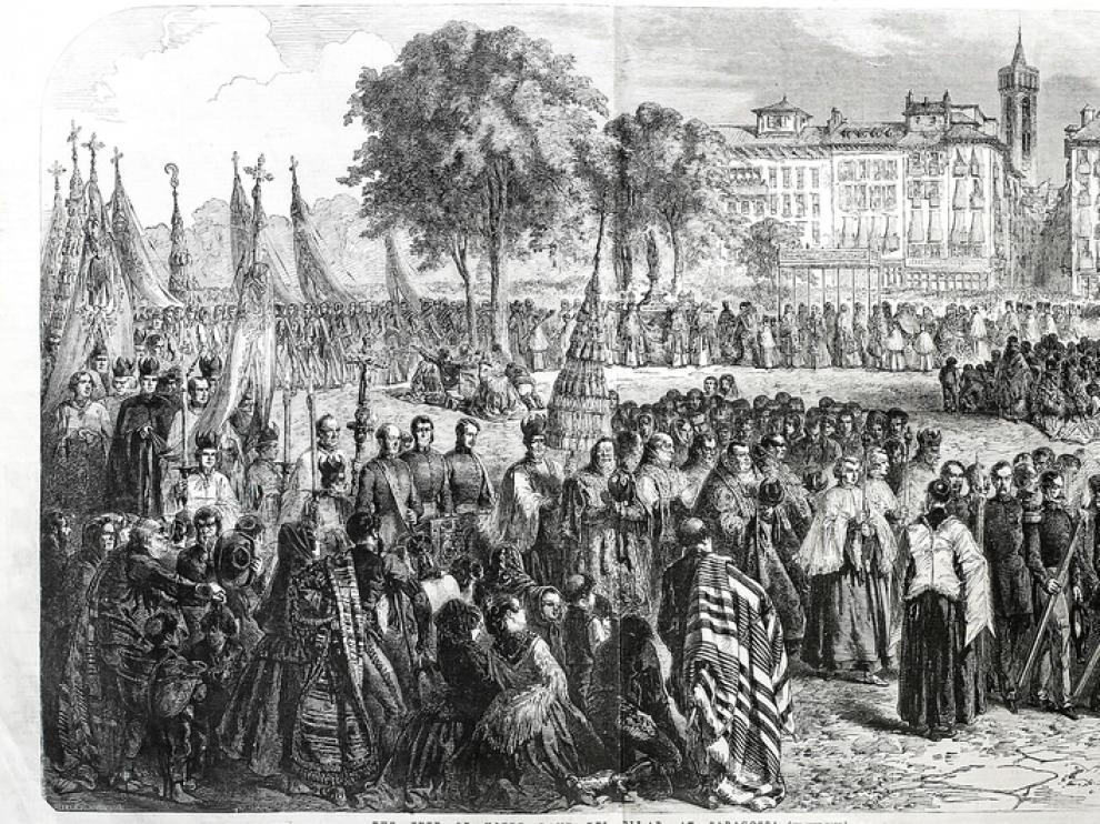 Un grabado de la procesión del 12 de octubre de 1856