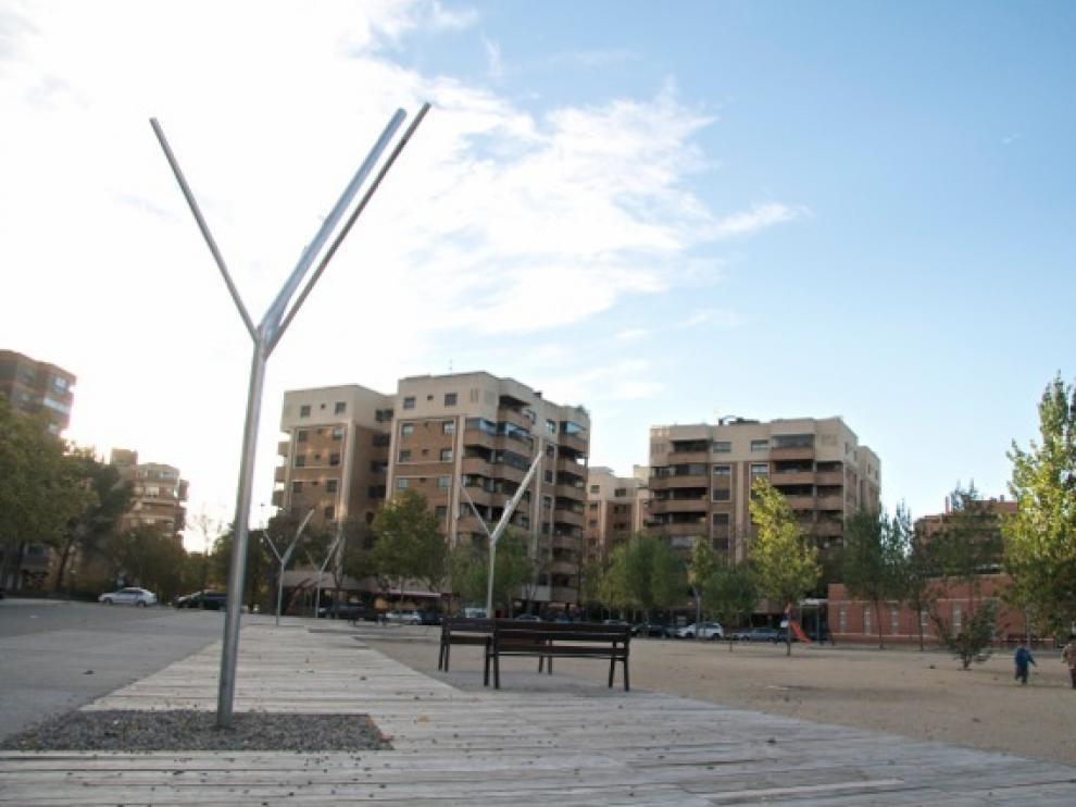 Antiguo solar de la calle de Miguel Labordeta, en el barrio de las Delicias