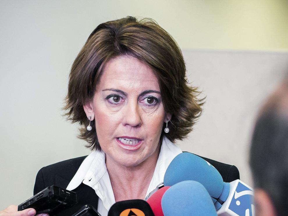 Yolanda Barcina a su llegada a la Audiencia Nacional