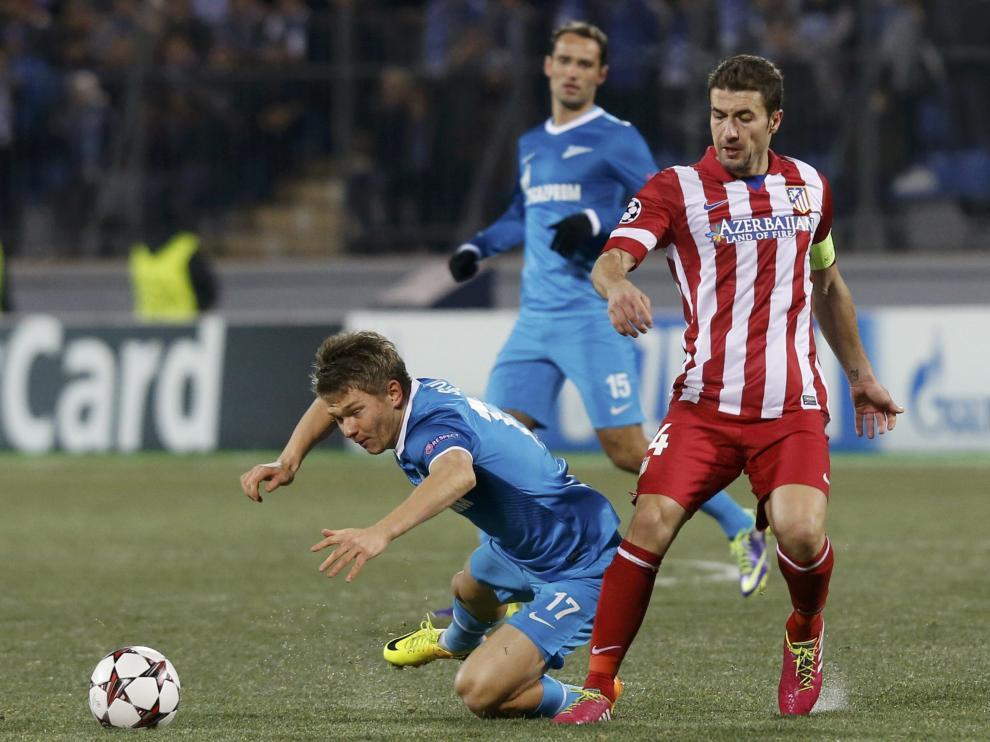Gabi en un partido con el Atlético de Madrid