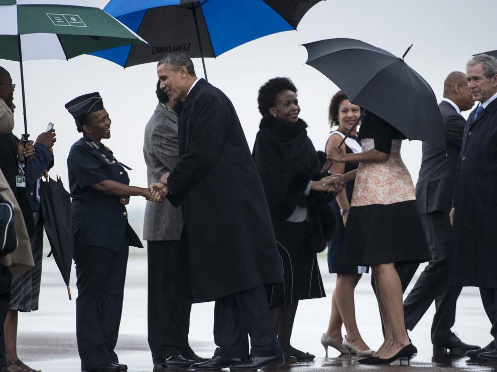 Llegada de Obama y Bush a Johannesburgo