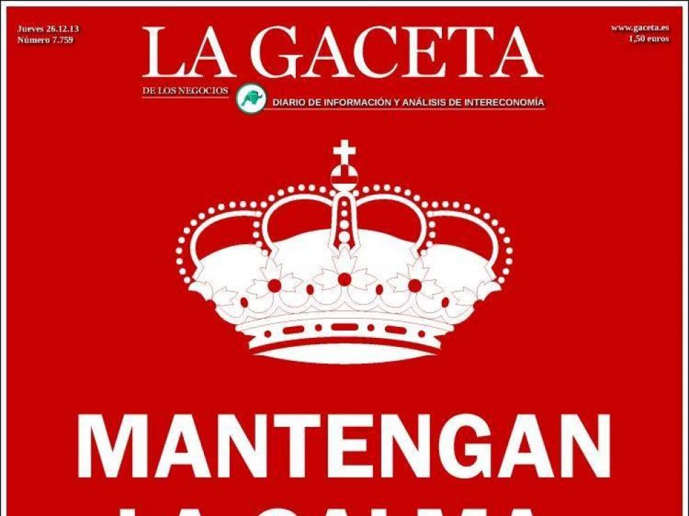 La portada de 'La Gaceta' de este jueves
