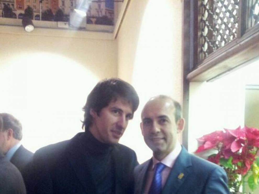 Sergio Sebastián, con el presidente de la Comarca José Félix Tallada