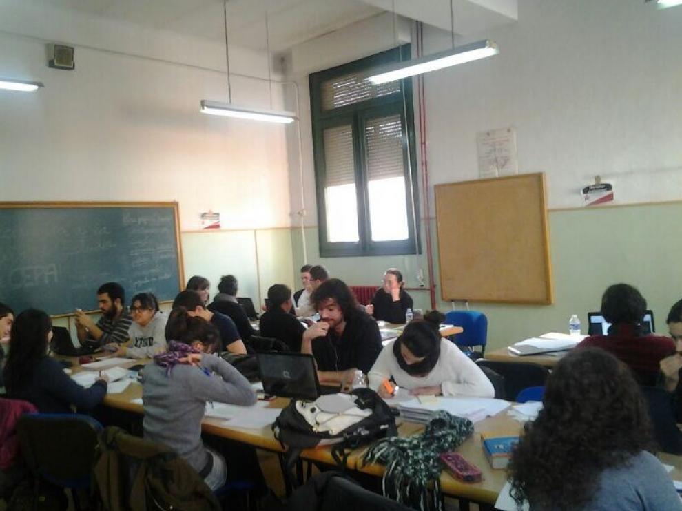 Sala de estudio en la Universidad de Zaragoza.