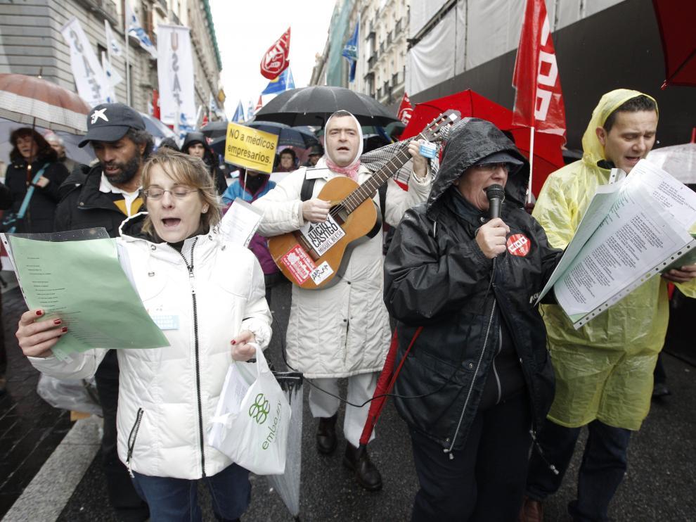 Manifestantes en las calles de Madrid.