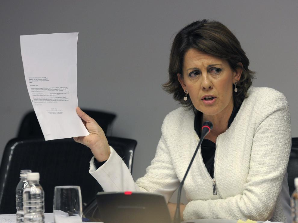 Barcina durante su comparecencia en la comisión de investigación abierta en el Parlamento de Navarra