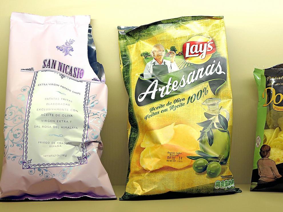 Las tres mejores patatas: San Nicasio, Lay's Artesanas y Doruel.