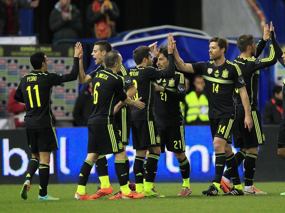 Celebración de un gol de España ante Italia