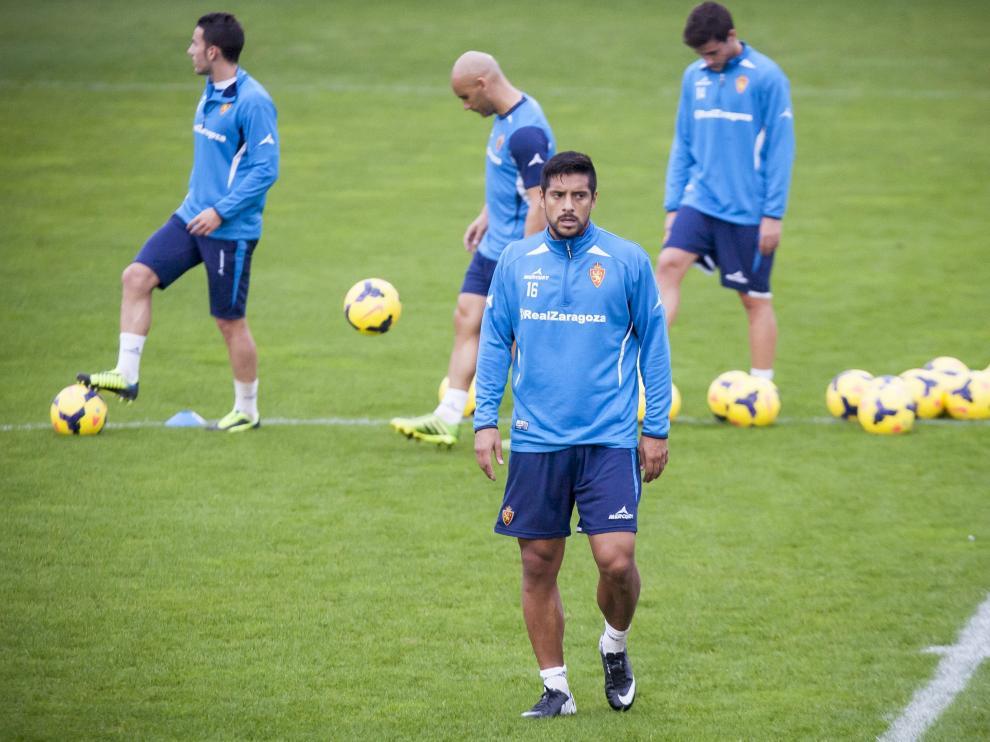 Acevedo, durante un entrenamiento del Real Zaragoza