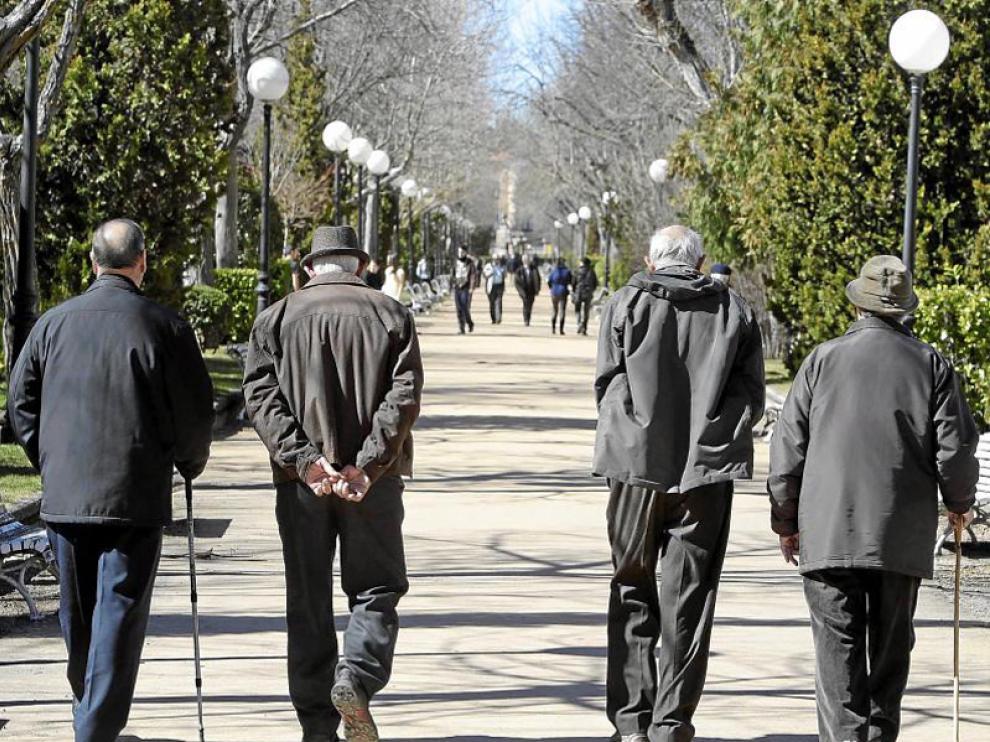 Varios ancianos en el parque de la Dehesa