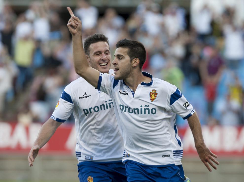 Víctor celebra un gol frente al Tenerife, que acabó 3-0.