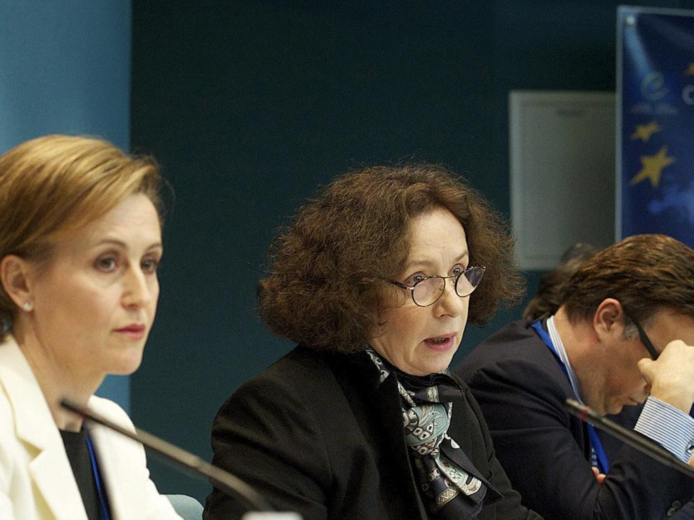 La exministra Ana Palacio en la Corte de Estrasburgo