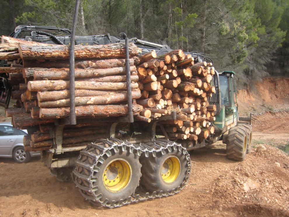 Transporte de madera en Tosos