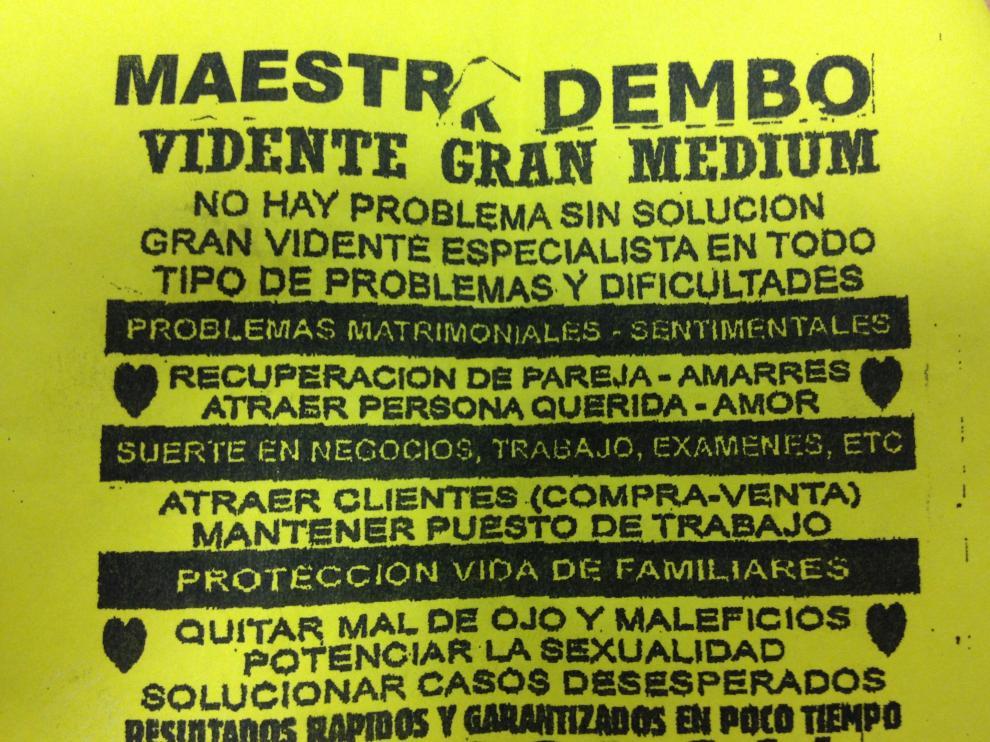 Un anuncio repartido en buzones de Zaragoza