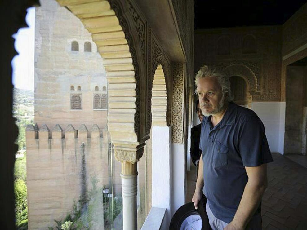 Tim Robbins durante la visita que ha realizado a La Alhambra y el Generalife.