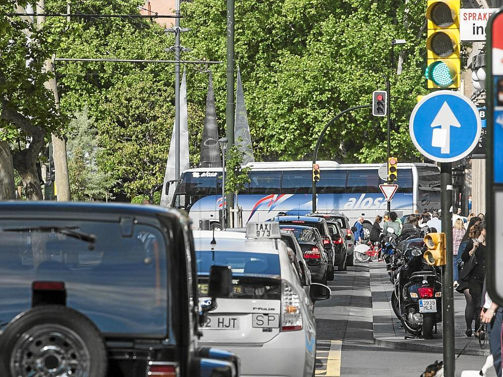 El panel informativo de polución de la plaza de Aragón.