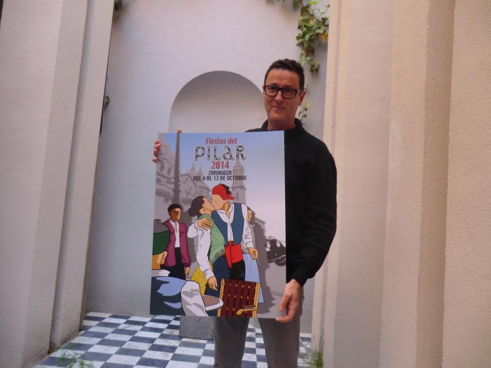 Antonio Isla, autor de 'El besico', cartel ganador de las fiestas del Pilar 2014.