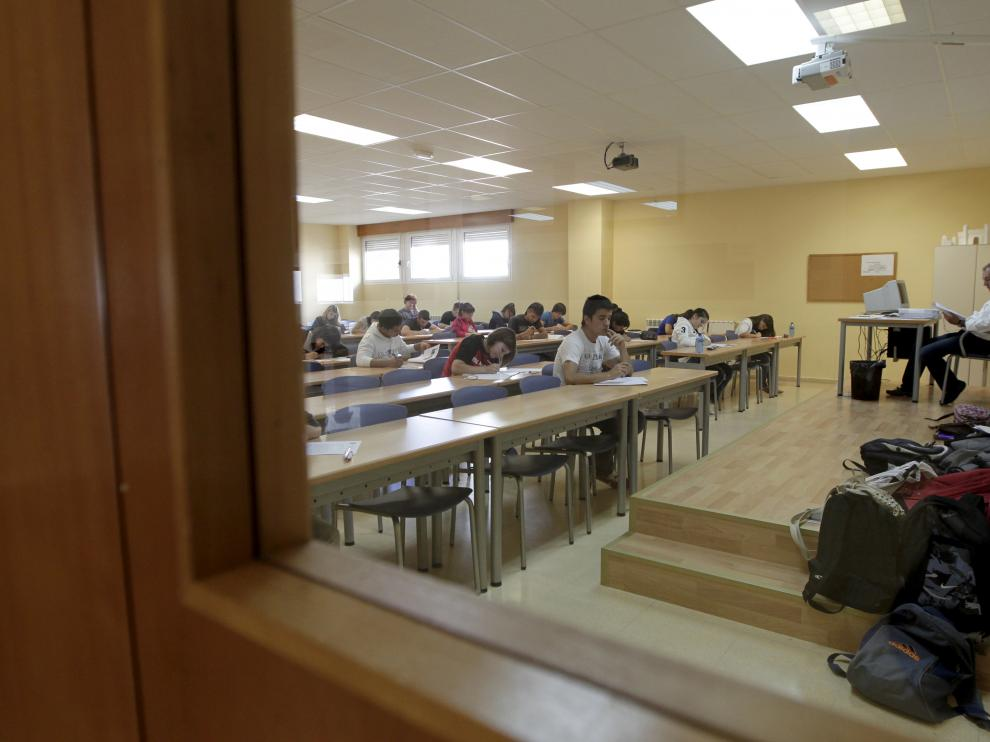 Fotografía de archivo de los alumnos sorianos realizando la prueba