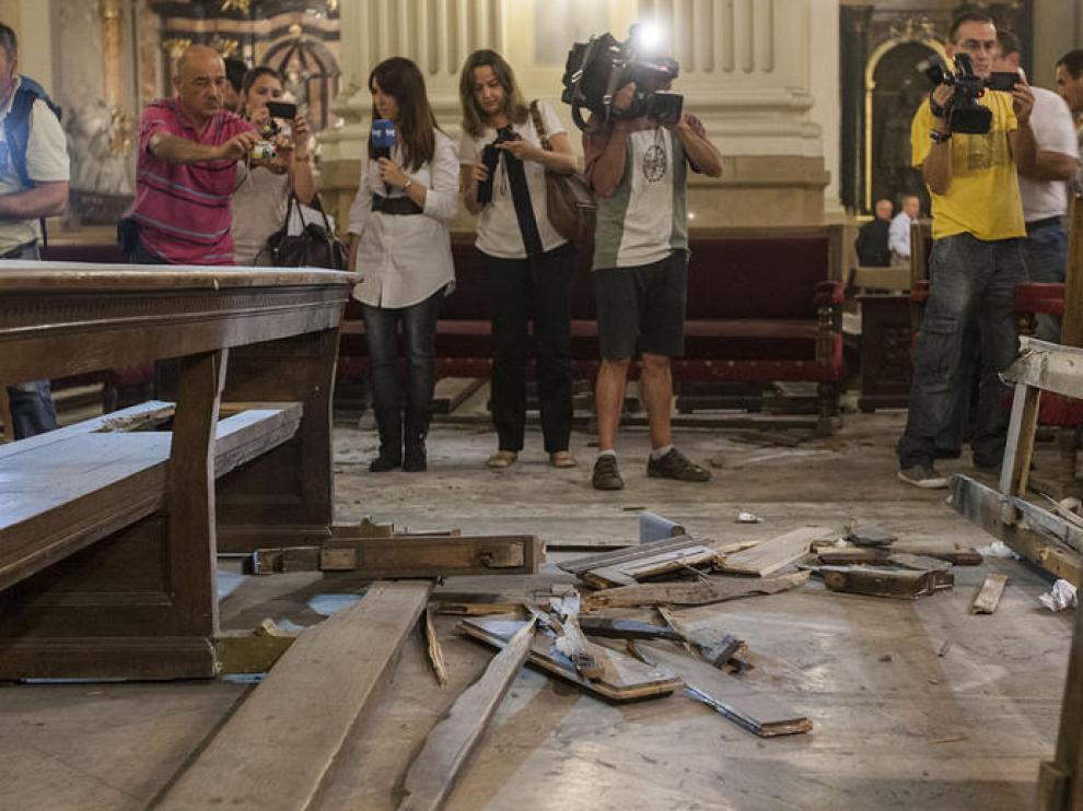 Una imagen del Pilar tras la explosión del artefacto