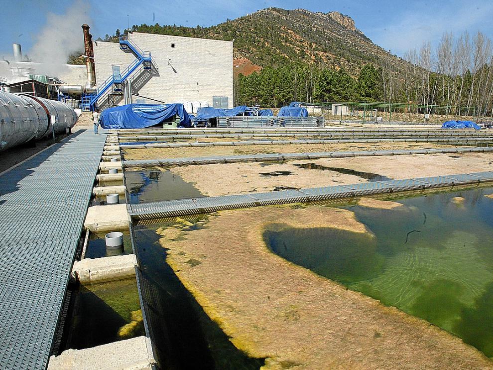 La piscifactoría, en primer plano, lleva diez años construida y sin entrar en servicio.