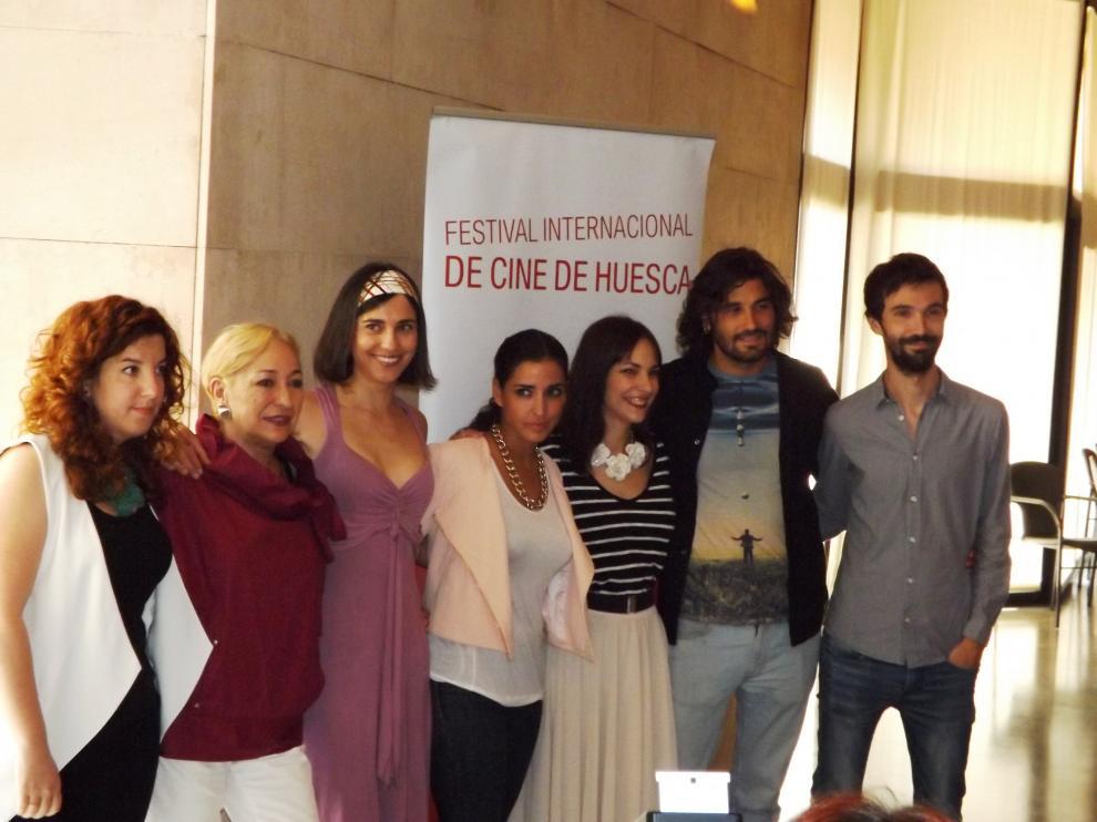Los actores en el Festival de cine Internacional de Huesca