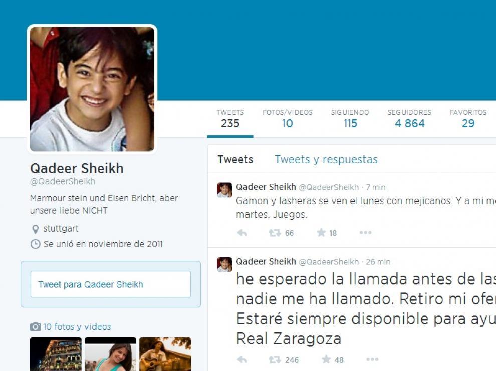 EL perfil de Twitter de Sheikh