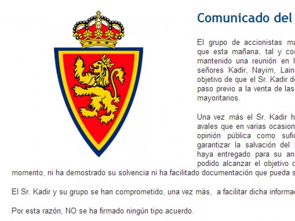 Comunicado del Real Zaragoza