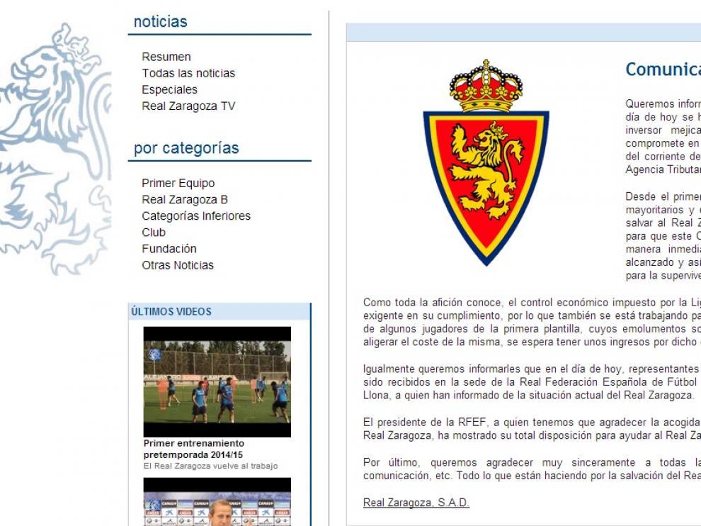 Comunicado publicado en la web del Real Zaragoza