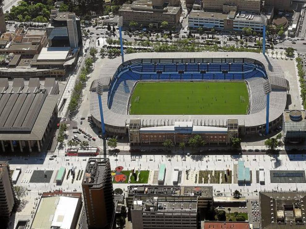 Imagen aérea de La Romareda