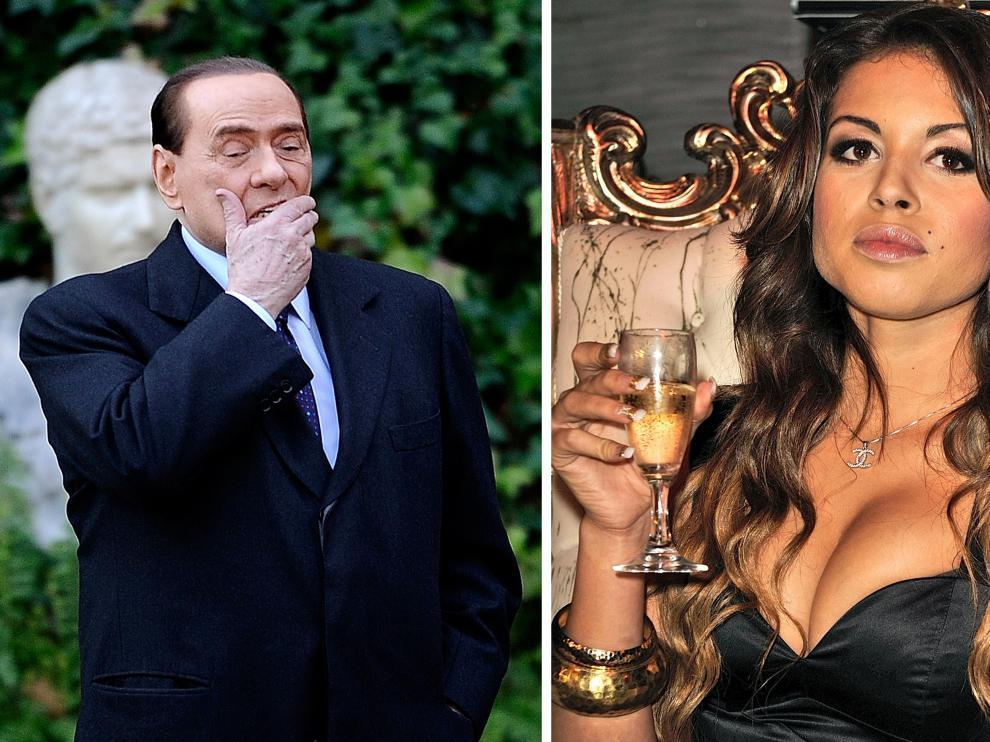 Combo de imágenes de Berlusconi y la joven conocida como Ruby