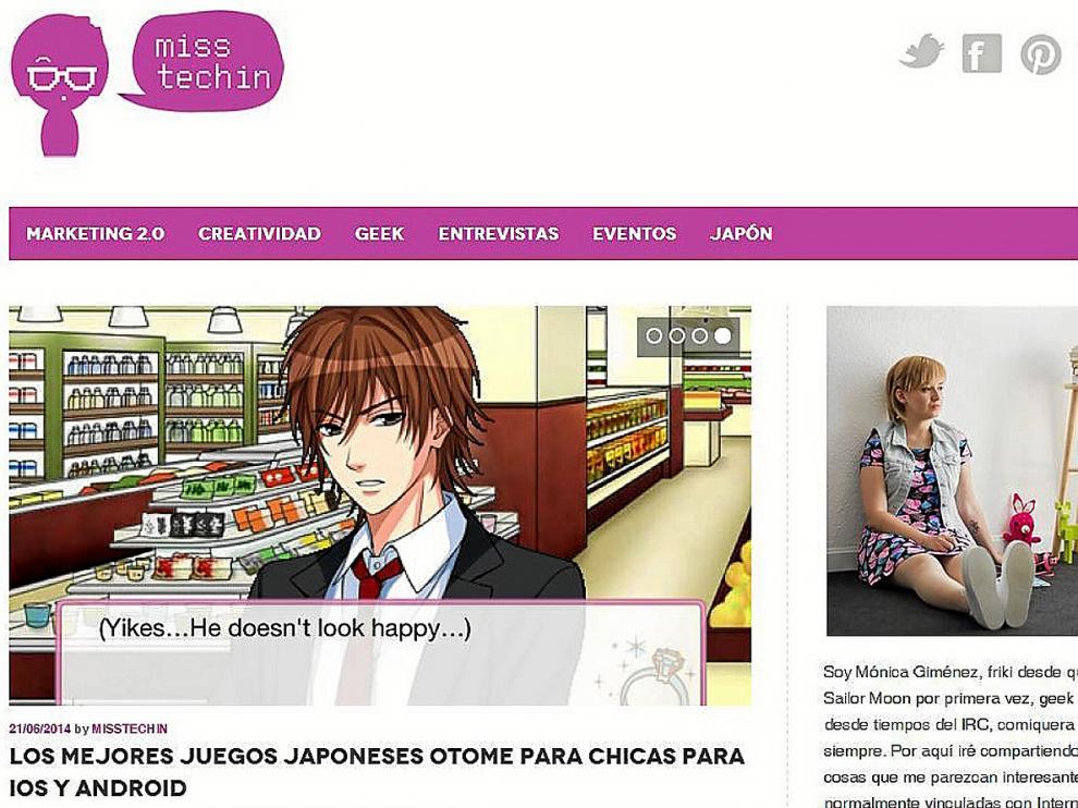 Imagen de la portada del blog MissTechin.com, ganador de los premios'Aragón en la Red'