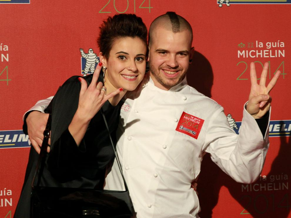 El chef David Mu&ñz y su esposa Ángela Montero, del restaurante DiverXO de Madrid, celebran la tercera estrella Michelin