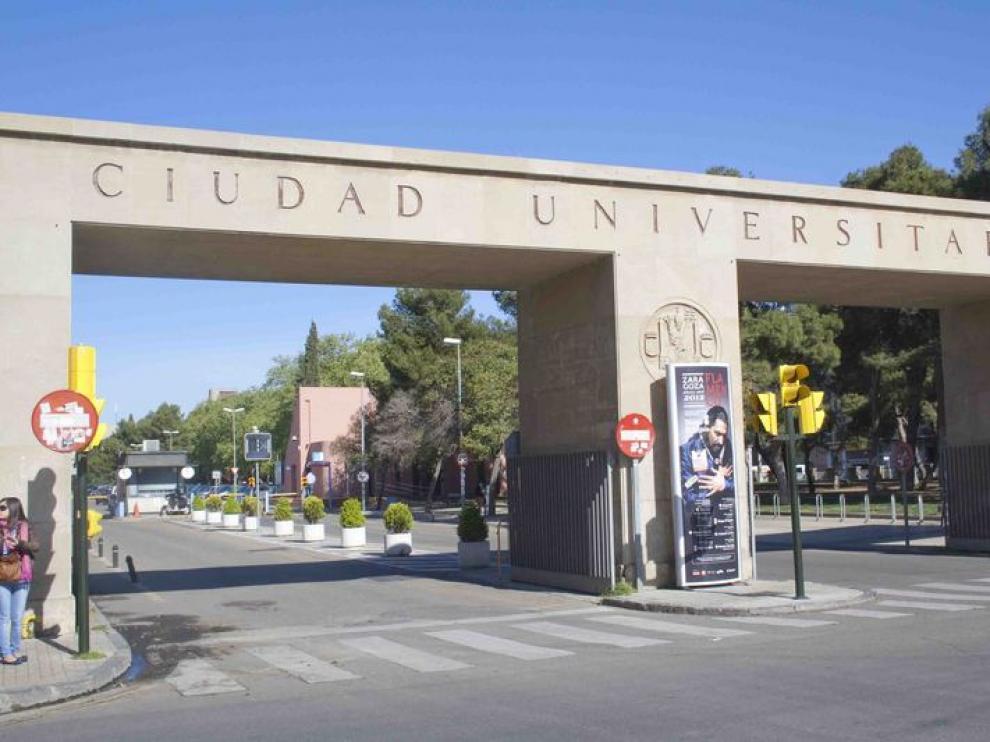 Entrada al campus de la Universidad de Zaragoza