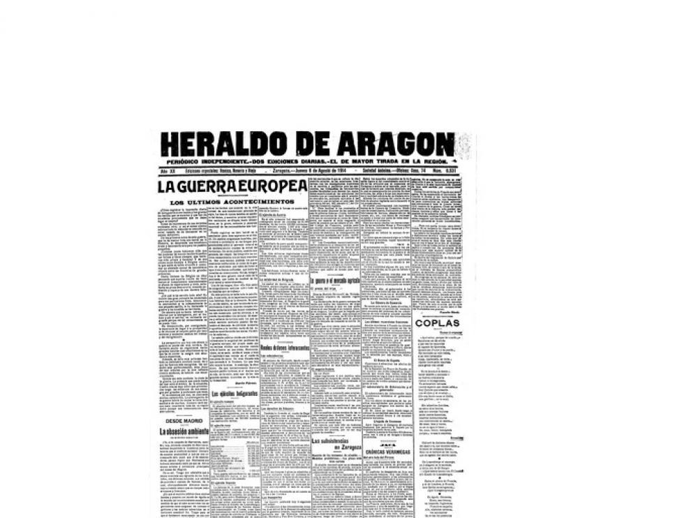 Portada de HERALDO el día 6 de agosto de 1914