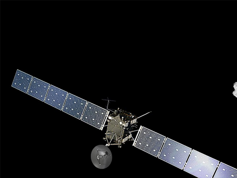 Imagen de la ESA representando la cercanía con el cometa