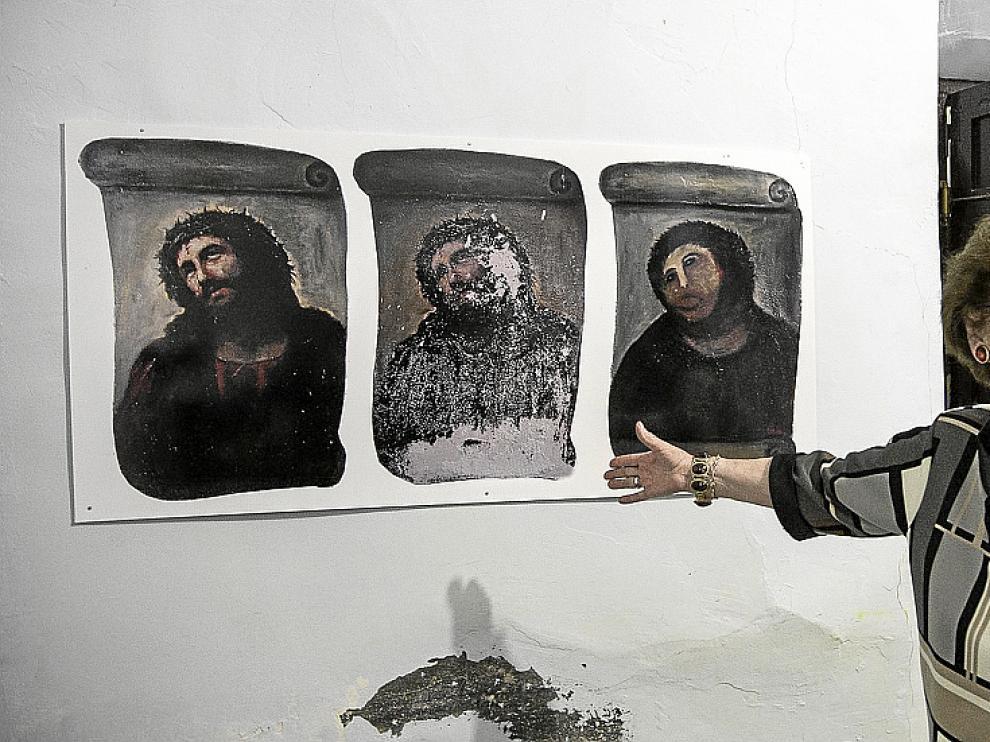La pintura del eccehomo, tal cual quedó después de la restauración fallida