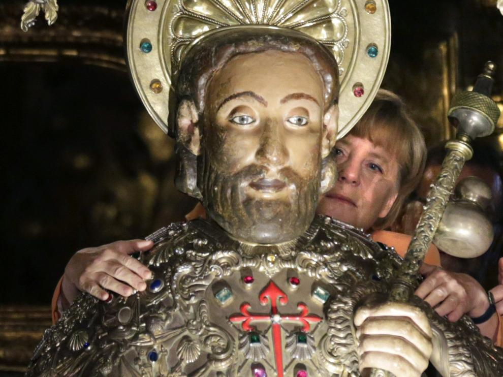 Merkel en la catedral de Santiago