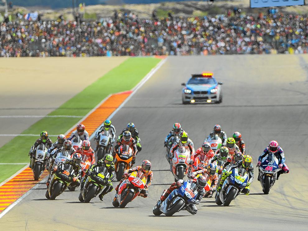 Salida de la carrera del Moto GP del pasado Gran Premio de Aragón en Motorland, imagen de archivo.