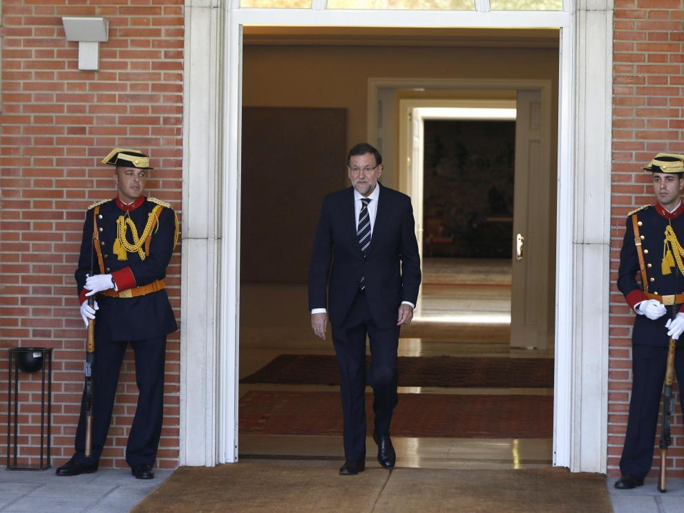 Rajoy saliendo del Palacio de la Moncloa en una imagen del pasado martes