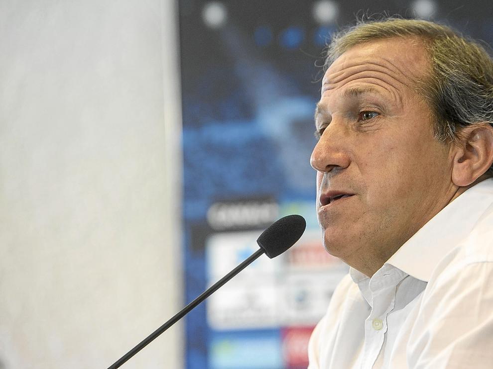 Víctor Muñoz, durante la rueda de prensa previa al partido de mañana contra el Barcelona B.