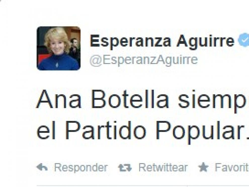 Tuit de Esperanza Aguirre en su cuenta personal