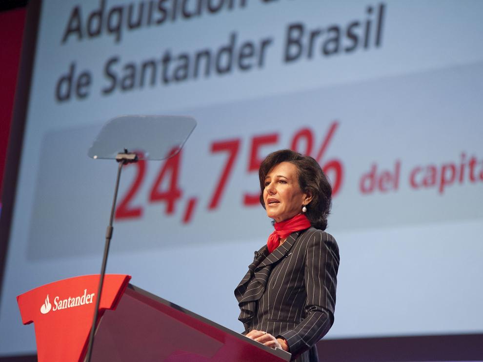 Ana Patricia Botín este lunes en su primera Junta de Accionistas