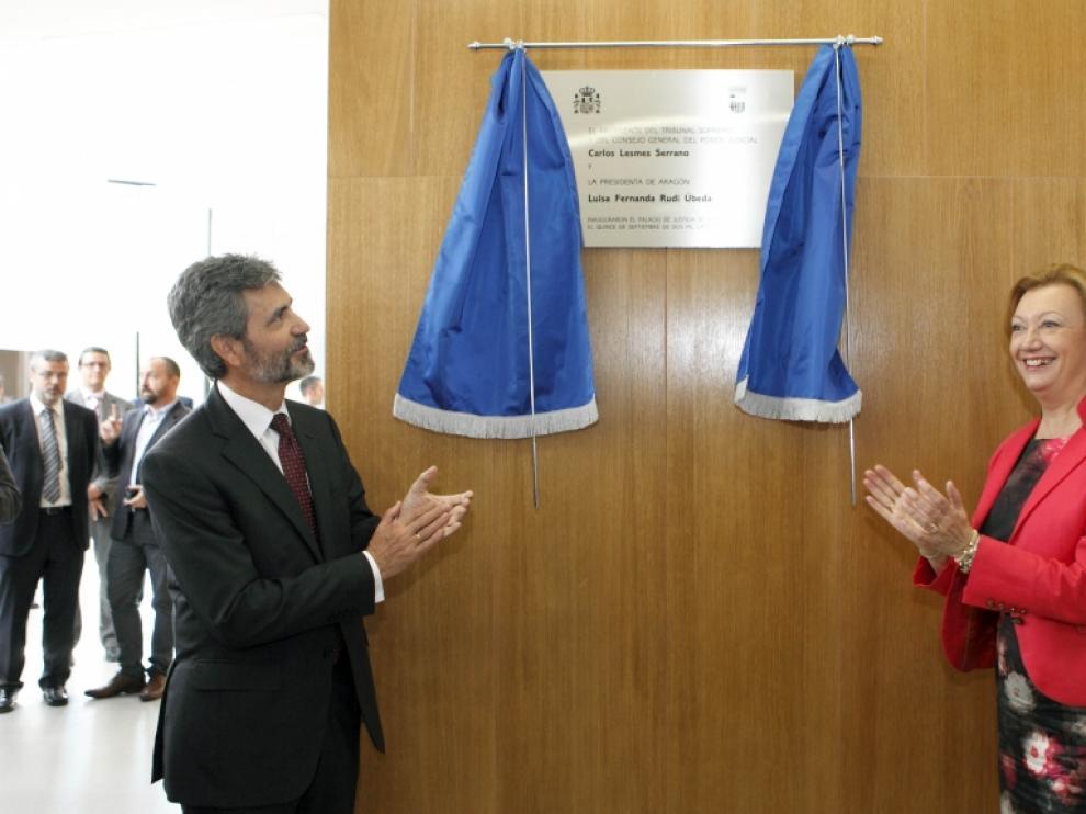 Carlos Lesmes y Luisa Fernanda Rudi durante la inauguración
