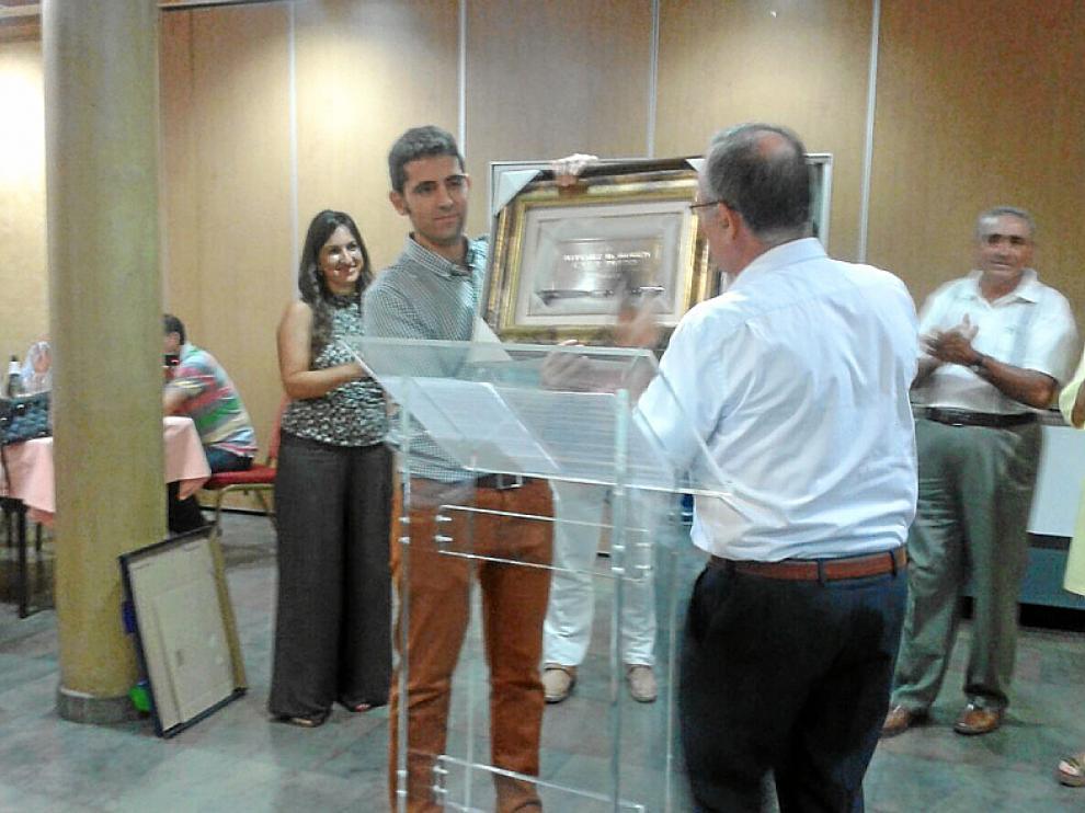 Rubén Calle, durante el homenaje celebrado en Épila el jueves.