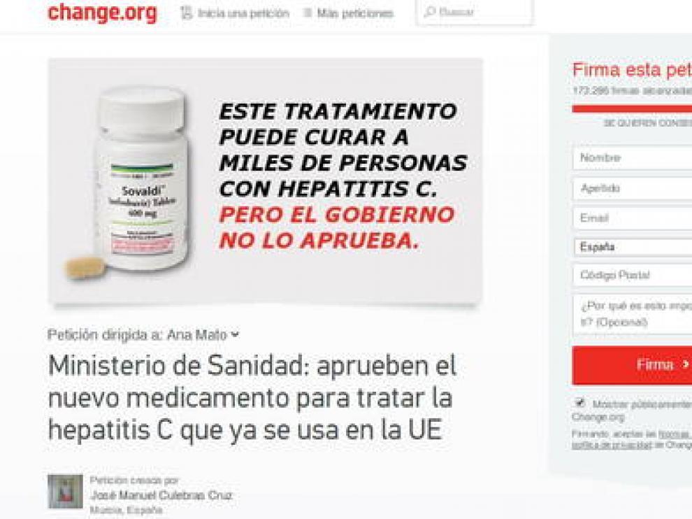 Campaña para pedir la aprobación del fármaco 'Sovaldi'